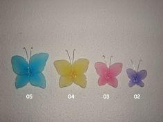 Borboletas feitas em meia de seda, ideal para diversas aplicações em decoração.  Confeccionamos em diversos tamanhos conforme abaixo:    Borboleta 05 (10,0 x 9,0 cm ) = R$ 3,50  Borboleta 04 (8,5 x 8,5 cm ) = R$ 3,00  Borboleta 03 (6,5 x 6,5 cm ) = R$ 2,50  Borboleta 02 (6,0 x 4,5 cm )= R$ 2,20    Também disponível em diversas cores. R$ 3,50