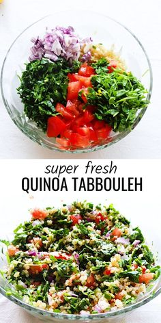 Fresh and healthy quinoa salad aka quinoa tabbouleh! This quinoa recipe is easy,… Fresh and healthy quinoa salad aka quinoa tabbouleh! This quinoa recipe is easy, vegan, gluten-free and delicious – great healthy side dish that goes with almost anything! Tabouleh Salat, Quinoa Tabouleh, Yummy Recipes, Whole Food Recipes, Vegetarian Recipes, Healthy Recipes, Vegan Quinoa Recipes, Gluten Free Tabbouleh Recipe, Tabouli Recipe