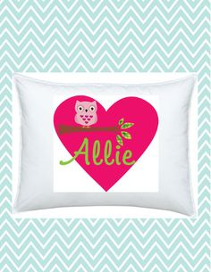 Personalized Heart and Owl Pillowcase, #funkymonkeythreads, #fmt, #kidspillow, #owl