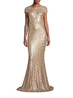 $390 - Badgley Mischka Sequin Lace Inset Gown