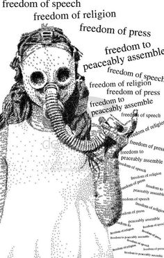 gas mask asking for freedom