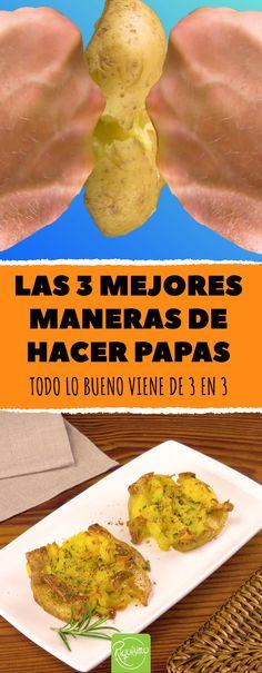 Las 3 mejores maneras de hacer papas. Todo lo bueno viene de 3 en 3 #papas #patatas #crema #machacadas #fundidas Argentina Food, Cooking Recipes, Healthy Recipes, Crepes, Food To Make, Side Dishes, Recipies, Food And Drink, Potatoes