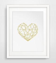 Gold Heart, Geometric Heart, Geometric Poster, Modern Decor, Heart Poster, Instant Download, Modern Print, Scandinavian Geometric, Gold Art