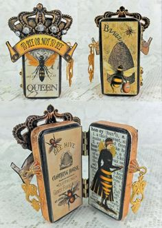 Artfully Musing: It's All About BEEs – Domino Books, Accordion Book Box & Coasters – Tutorials & New Collage Sheets & Giveaway Domino Art, Altered Tins, Altered Books, Altered Art, Domino Crafts, Domino Jewelry, Joseph Cornell, Accordion Book, Metal Art
