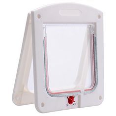 White 4 Way Locking Lockable Pet Cat Small Dog Flap Door for Pet Care ** Click image for more details.