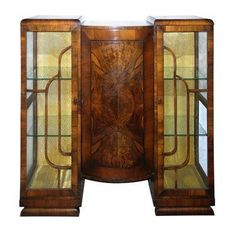 Walnut Art Deco Bookcase/Curio Cabinet by lavintagefurnishings. @Deidra Brocké Wallace