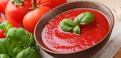 In our eat-and-run, massive-portion-sized culture, maintaining a healthy weight can be extremely tough—and losing weight, even tougher.Try tomato soup recipe for weight loss for healthy diet. Tomato Basil Soup, Tomato Soup Recipes, Tomato Sauce, Salsa Soup Recipe, Eat And Run, Summer Tomato, Organic Recipes, Ethnic Recipes, Blenders