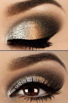 Gold shimmer makeup