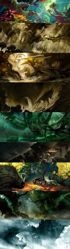 This is fantasy-palooza for illustration and inspiration. Landscape Concept, Fantasy Landscape, Landscape Art, Landscape Paintings, Fantasy Places, Fantasy World, Fantasy Art, Environment Concept Art, Environment Design