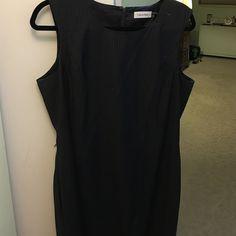 Calvin Klein grey pinstripe sheath dress sz14 Back slit see pinstripes with detail (pictured) Calvin Klein Dresses