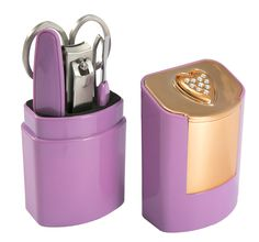 How cute is this...Heart manicure set with Swarovski Elements.