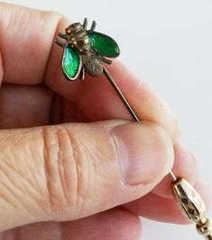 Vintage Sterling Green Enamel Fly Stick Pin Signed #Unidentified