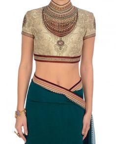 Beige Satlada Chiffon Saree - Tarun Tahiliani - Designers