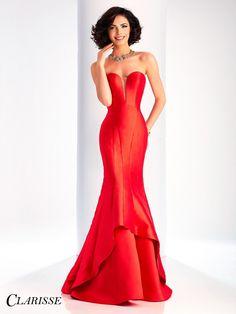 Clarisse Prom 3096 Lipstick Red Strapless Mermaid Prom Dress