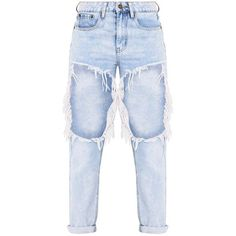 Madisson Light Wash Extreme Open Thigh Mom Jean ❤ liked on Polyvore featuring jeans, pants, bottoms, pantalon, ripped boyfriend jeans, distressing jeans, destructed boyfriend jeans, light wash boyfriend jeans and ripped jeans