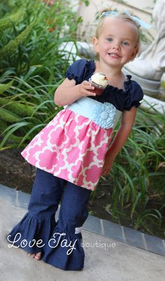 Girls Peasant style tunic and ruffle bottom by LoveTayBoutiqueLLC  My Girlfriends Store! She hand makes the most wonderful children's clothing using the best materials!! Check it out! Oh and that's my other girlfriend's beautiful daughter, Georgia!