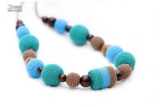 Crochet Nursing mom necklace - Teething toy/Breastfeeding necklace - green, blue, mocha, natural wooden beads - crochet sling necklace on Etsy, $30.00