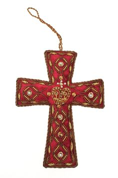 Red+2016+Beaded+Cross+Decoration+-+Our+2016+cross+decoration+is+made+in+deep+red+velvet+and+carefully+embroidered+with+gold+thread+and+gold+and+pearl+beads…