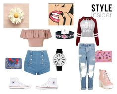 """""""Spring"""" by fashion-babygirl-101 ❤ liked on Polyvore featuring beauty, Miss Selfridge, WithChic, Pierre Balmain, Converse, Topshop, Moschino, Boohoo and Rosendahl"""