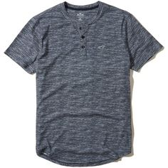 Hollister Must-Have Henley T-Shirt (37 ILS) ❤ liked on Polyvore featuring men's fashion, men's clothing, men's shirts, men's t-shirts, heather navy, mens print shirts, mens navy shirt, mens henley shirts, mens navy blue t shirt and mens patterned shirts