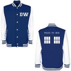 DW TARDIS Police Box Varsity Jacket - Whovian Geek Fan Doctor Who Inspired University College Letterman Baseball Jacket on Etsy, $29.52