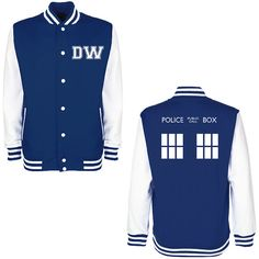 DW TARDIS Police Box Varsity Jacket - Whovian Geek Fan Doctor Who Inspired University College Letterman Baseball Jacket on Etsy, $29.52