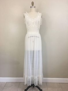2b59f170e 1950s Sheer Ivory Nightgown by American Maid Size 34 Nightgown