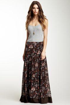 Samantha Sung Gigi Silk Skirt in Sepia brown floral print