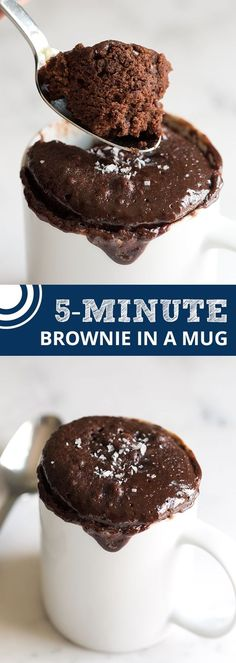 5-Minute Brownie in a Mug Recipe. This recipe makes one pretty generous brownie. Enjoy it with a big scoop of ice cream on top! From @inspiredtaste | inspiredtaste.net