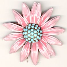 Trifari 'Alfred Philippe' Pink and Turquoise Daisy Pin Clip
