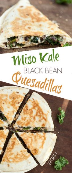 miso kale & black bean quesadillas from Katie of Produce On Parade