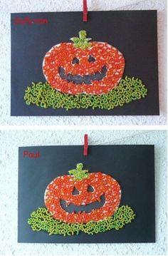 Table pumpkins in shells / Theme Halloween, Halloween Crafts For Kids, Halloween Activities, Craft Activities For Kids, Halloween 2019, Preschool Crafts, Fall Halloween, Happy Halloween, Mascaras Halloween