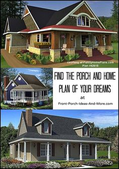 Do you dream of a house with a porch? Here are some very nice plans - from tiny to grand. See on Front-Porch-Ideas-and-More.com #houseplans #homeplans #porches #frontporchideas
