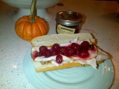 Foodies on Foot created this wonderful sammy with oven roasted turkey and Bumpercrop's Mostarda Cranberries.