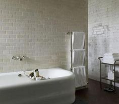 Love the tiles and thetub is nice shape -- Soho House Berlin Bathroom with Towel Warmer, Remodelista Soho House Berlin, Soho House Hotel, Bathroom Renos, White Bathroom, Bathroom Storage, Modern Bathroom, Bathroom Ideas, Attic Bathroom, Family Bathroom