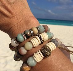 Stackable African bead and she'll bracelets  https://www.etsy.com/shop/BrunetteBeads?ref=search_shop_redirect