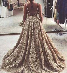 Champagne Lace Backless Spaghetti Straps Sweep Train Prom Dress