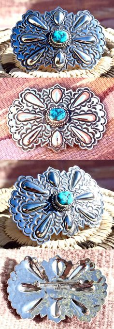 Pins Brooches 98499: Navajo Sterling Silver Concho Style Pin Kingman Turquoise Signed BUY IT NOW ONLY: $89.5