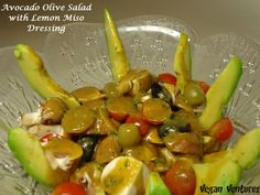 ~ Avocado Olive Salad with Lemon Miso Dressing ~  Oil-Free, raw, nutritional, healthy, simple, and.....supremely yummy.  Made in just a few minutes.