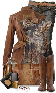 """""""Leather, Jeans and Paisley"""" by jackie22 on Polyvore"""