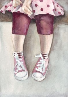 Original watercolor painting Little Girl Legs and Pink Converse art Fashion Illustration Face, Illustration Art, Drawing For Kids, Art For Kids, All Star, October Art, Star Painting, Pink Converse, Painted Shoes