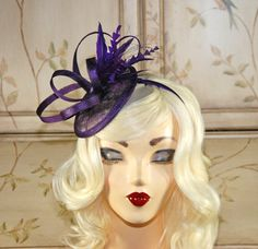 Purple Fascinator - Mini Hat - Kentucky Derby Fascinator - Tea Party Fascinator - Wedding Fasincat- - British Fascinator