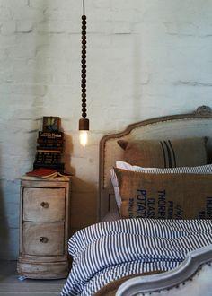 Light, pillows, ticking