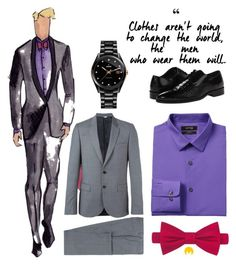 How to highlight your classic grey suit by imageconsultingzurich on Polyvore featuring polyvore, Apt. 9, PS Paul Smith, Stacy Adams, Tommy Hilfiger, Rado, men's fashion, menswear and clothing
