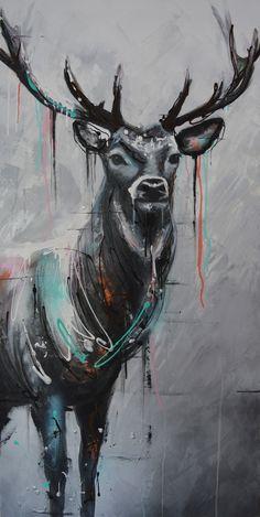 ''ANTD (America's next top Deer'', 24X48 pouces, Acrylique sur toile.