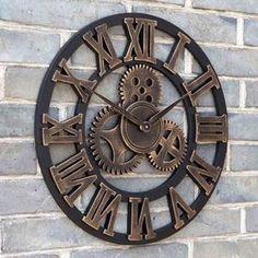 2pcs 45 CM Décoratif horloge murale magasin de salon rétro moderne engrenage grande horloge ronde bricolage bois créatif personna...