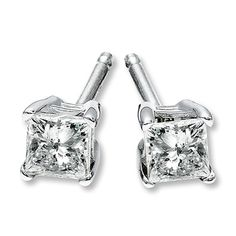 Diamond Earrings 1/4 ct tw Princess-cut 14K White Gold