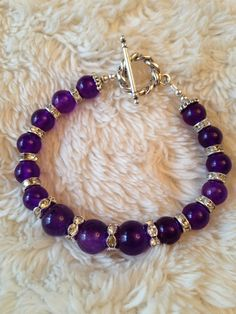 Mothers Day Bling   Beautiful amethyst stone with rhinestone spacers bracelet   One of a kind  bridal birthday mother of bride  on Etsy, $30.00