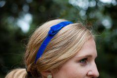 Velvet Skinny Bow Stretch Headband Cobalt Blue by AcuteDesigns