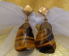 ANTIQUE VINTAGE VICTORIAN - ART DECO Gold GG Tiger's Eye Agate Drop Earrings